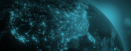 Night time satellite image of south eastern usa